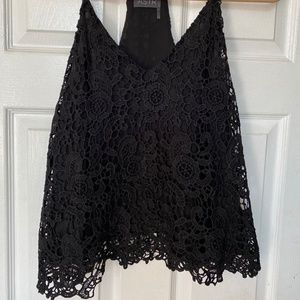 Sophisticated Black Lace Razor Back Top